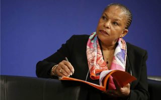 File picture shows French Justice Minister Christiane Taubira as she attends a meeting at the Bercy Economy and Finance Ministry in Paris, France, December 15, 2015. France's Justice Minister Christine Taubira, often at odds with her government on policy, resigned on Wednesday, President Francois Hollande's office said in a statement.    REUTERS/Jacky Naegelen/Files