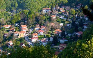 Το χωριό Καστανιά «αναδύεται» μέσα από τις οξιές και τα έλατα.