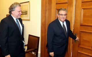 Ο υπουργός Εργασίας Γιώργος Κατρούγκαλος  (Α) συναντάται στην Βουλή με τον ΓΓ του ΚΚΕ Δημήτρη Κουτσούμπα (Δ) , Δευτέρα 4 Ιανουαρίου 2016. Ο υπουργός Εργασίας Κατρούγκαλος έχει σειρά συναντήσεων με τους πολιτικούς αρχηγούς και  εκπροσώπους κομμάτων για το ασφαλιστικό , ενώ το απόγευμα θα συναντηθεί για το ίδιο θέμα και με τον Πρόεδρο της Δημοκρατίας Προκόπη Παυλόπουλο.   ΑΠΕ ΜΠΕ/ΑΠΕ ΜΠΕ/ΠΑΝΤΕΛΗΣ ΣΑΪΤΑΣ