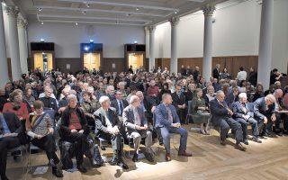 Eντυπωσιακά φωτισμένη και κατάμεστη  η Aίθουσα Διαλέξεων του King's College Λονδίνου για την 25η Διάλεξη Runciman (φωτο Kατερίνα Kαλογεράκη, Λονδίνο).