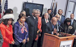 Μέλη της ομάδας Αφροαμερικανών βουλευτών του Κογκρέσου ανακοινώνουν τη στήριξή τους στη Χ. Κλίντον, κατά τη διάρκεια συνέντευξης Τύπου.