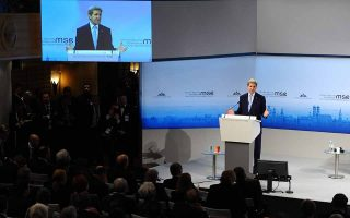epa05158027 US Secretary of State John Kerry speaks at the 52nd Security Conference in Hotel Bayrischer Hof in Munich, Germany, 13 February 2016. The 52nd Security Conference runs until 14 February 2016.  EPA/ANDREAS GEBERT
