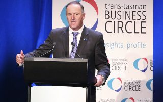 New Zealand Prime Minister John Key makes a speech while attending the Trans-Tasman Business Circle lunch with Australian Prime Minister Malcolm Turnbull in Sydney, Friday, Feb. 19, 2016. (AP Photo/Rick Rycroft)