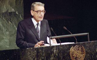 Ο Μπούτρος Μπούτρος Γκάλι σε ομιλία του στον ΟΗΕ το 1991.