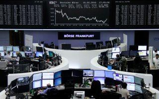 Στη Φρανκφούρτη (φωτ.) ο DAX έκλεισε στο -0,78% χθες και στο Παρίσι ο CAC 40 στο -0,11%.
