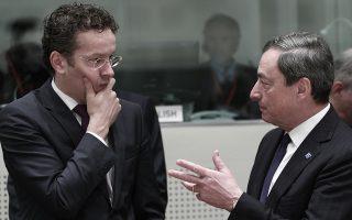 Σαφή μηνύματα προς την Αθήνα για ολοκλήρωση της διαπραγμάτευσης και εφαρμογή της συμφωνίας του περασμένου Ιουλίου απέστειλαν ο επικεφαλής του Eurogroup, Γερούν Ντάισελμπλουμ (αριστερά) και ο επικεφαλής της ΕΚΤ, Μάριο Ντράγκι.