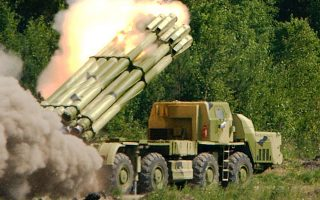 Russian made Smerch 300 mm Multiple Launch Rocket System fires a rocket during an exhibition in the Urals town of Nizhny Tagil, 1, 300 km (801 miles) east of Moscow in this July 9, 2002 file photo. Missiles to Syria and Iran, warplanes to Venezuela and Myanmar, helicopters to Sudan - Russia goes its own way when it comes to selling arms, seemingly immune to ethical debates that affect the industry elsewhere. Russia's arms industry is one of the few national manufacturers that can compete with Western firms on equal terms. To match feature ARMS RUSSIA.   REUTERS/Damir Saitov/Files