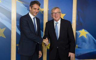 Ο πρόεδρος της Ν.Δ. Κυριάκος Μητσοτάκης με τον πρόεδρο της Ευρωπαϊκής Επιτροπής Ζαν-Κλοντ Γιούνκερ. Το κόμμα της αξιωματικής αντιπολίτευσης άνοιξε νέους διαύλους με τα κέντρα αποφάσεων στην Ευρώπη.