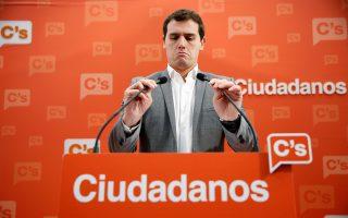 Ο επικεφαλής των Ciudadanos Α. Ριβέρα. Ενα από τα σενάρια για την επόμενη ημέρα, η κυβερνητική σύμπραξή του με τους Σοσιαλιστές.