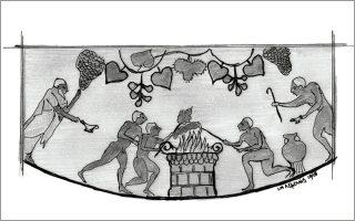 Αντρες ψήνουν κομμάτια κρέατος σε βωμό κάτω απο κληματαριά. (Υδρία από ελληνική αποικία της Ιταλίας. Ρώμη, Μουσείο Βίλλα Τζούλια)Εικονογράφηση: ΓΙΑΝΝΗΣ ΛΕΜΟΝΗΣ