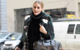 EXCLUSIVE: Olivia Palermo seen wearing a green fur coat and carrying a Givenchy handbag in Brooklyn,New York