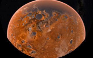Εικαστική απεικόνιση του Αρη με λίμνες και θάλασσες δισεκατομμύρια χρόνια πριν.