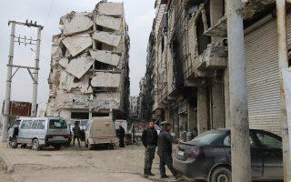 Eμφανείς οι καταστροφές στα κτίρια από τους βομβαρδισμούς στο Χαλέπι, όπου επιχειρούν Ρώσοι και κυβερνητικά στρατεύματα του Ασαντ.