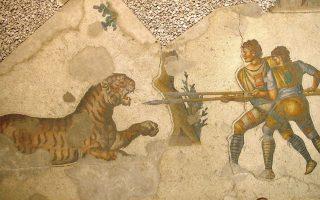 Ψηφιδωτό του 4ου αιώνα στο Μέγα Παλάτιον της Κωνσταντινούπολης απεικονίζει δύο μονομάχους «venatores» (κυνηγούς αγρίων θηρίων) να πολεμούν με τίγρη σε ρωμαϊκό αμφιθέατρο.