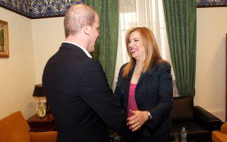 Η κ. Φώφη Γεννηματά με τον ηγέτη του Εργατικού Κόμματος της Ολλανδίας (PvdA) Ντίντερικ Σάμσον.