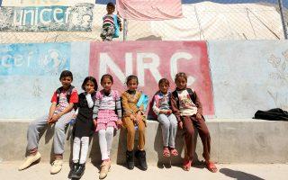 Παιδιά, μέλη της μειονότητας των Γιαζίντι του Ιράκ, σε καταυλισμό προσφύγων στην ιρακινή πόλη Σιντζάρ.