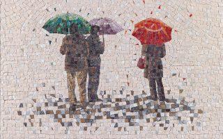 «Ομπρέλες 1», ένα από τα ψηφιδωτά της Δάφνης Αγγελίδου που εκλάπησαν.