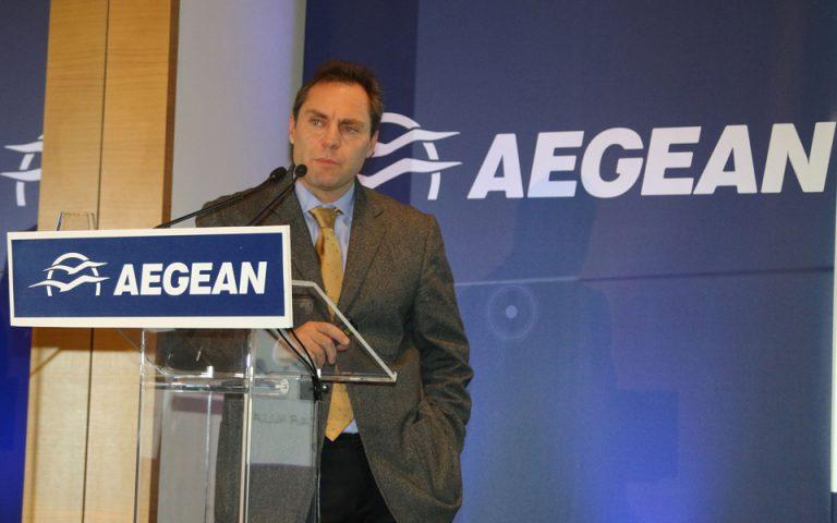 Βασιλάκης: «Η Aegean πέτυχε ραγδαία ανάπτυξη χωρίς να λάβει έκπτωση στο σπατόσημο»