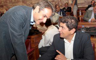 Οι κ. Κυρ. Μητσοτάκης και Λευτ. Αυγενάκης σε παλαιότερο στιγμιότυπο από συνεδρίαση της Κ.Ο. της Νέας Δημοκρατίας.