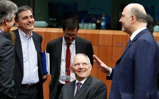 Ο υπουργός Οικονομικών Ευκλ. Τσακαλώτος, ο Γερμανός ομόλογός του Βόλφγκανγκ Σόιμπλε και ο επίτροπος Οικονομικών Υποθέσεων Πιερ Μοσκοβισί, σε παλαιότερο στιγμιότυπο.