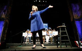 Η Χίλαρι Κλίντον κατά τη διάρκεια προεκλογικής της εμφάνισης, τη Δευτέρα, στο Ντέλαγουερ.