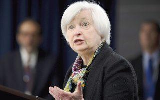 Από την επίσημη ανακοίνωση της Fed μεταφέρεται το μήνυμα πως «ο Ιούνιος δεν περιλαμβάνεται στη λίστα των επιλογών» για την επόμενη αύξηση των επιτοκίων, τονίζουν αναλυτές. Στη φωτογραφία, η πρόεδρος της Federal Reserve Τζάνετ Γέλεν.
