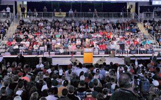 Ο Ντόναλντ Τραμπ κατά τη διάρκεια προεκλογικής ομιλίας του στην Ινδιανάπολη της Ιντιάνα την Τετάρτη. Οι προκριματικές εκλογές στην πολιτεία θα διεξαχθούν στις 3 Μαΐου.