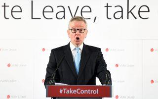 Ο Βρετανός ευρωσκεπτικιστής Μάικλ Γκοβ, σε ομιλία του στο Λονδίνο, ενόψει του δημοψηφίσματος του Ιουνίου.
