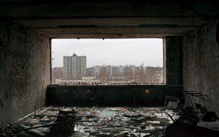 Άποψη από τον τελευταίο όροφο του ξενοδοχείου Polissya, που βρίσκεται στην κεντρική πλατεία Λένιν στην πόλη του Πριπιάτ.