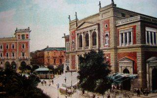 Το Δημοτικό Θέατρο Αθηνών, έργο Τσίλλερ, στην πλατεία Κοτζιά.