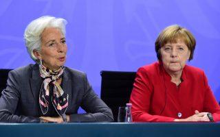 Η καγκελάριος της Γερμανίας Αγκελα Μέρκελ συναντήθηκε με την επικεφαλής του ΔΝΤ Κριστίν Λαγκάρντ.