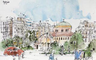 Η Αγία Σοφία στη Θεσσαλονίκη. Ενα από τα έργα του Πάβλου Χαμπίδη στη νέα του έκθεση.