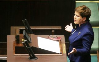 H Μπεάτα Ζίντλο κατά τη χθεσινή ομιλία της στην πολωνική Βουλή.