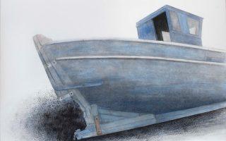 Σωτήρης Σόρογκας: Παλιό καΐκι στη Bιστονίδα, 150x200. Oλα τα έργα είναι κάρβουνο και ακρυλικό σε μουσαμά.