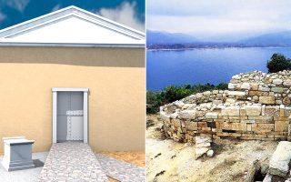 Το πιο σπουδαίο εύρημα από την εικοσαετή ανασκαφική έρευνα στα αρχαία Στάγειρα ανακοινώνεται σήμερα στη Θεσσαλονίκη, στο πλαίσιο του διεθνούς συνεδρίου «Αριστοτέλης 2.400 χρόνια». Πλέον, ελάχιστες αμφιβολίες υπάρχουν. Το αψιδωτό οικοδόμημα και ο βωμός που αποκάλυψαν οι ανασκαφές στην αρχαία πόλη το 1996, δεν μπορεί παρά να ήταν ο τάφος και το ηρώο του Σταγειρίτη φιλοσόφου. Στην αριστερή φωτογραφία βλέπουμε αναπαράσταση του ταφικού μνημείου.