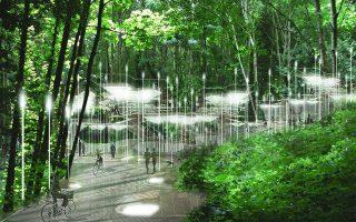 Φωτορεαλιστική απεικόνιση του νεκροταφείου Anos Bale στο Μπρίστολ, με την προσθήκη των ειδικών φωτεινών «δοχείων» για νεκρούς στο έδαφος και πάνω στα αιωνόβια δέντρα.