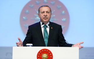 Ο Τούρκος πρόεδρος Ερντογάν, κατά τη διάρκεια της χθεσινής ομιλίας του στην Πόλη, όπου καταδίκασε την αντισύλληψη.