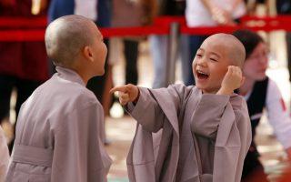 Μοναχοί. Κοροιδεύοντας ο ένας τον άλλο για τον ίδιο ακριβώς λόγο, την απώλεια των μαλλιών τους, δυο πιτσιρίκια περιμένουν να ξεκινήσουν την μαθητεία τους στον ναό Jogye της Σεούλ. Δέκα παιδιά θα πάρουν μια γεύση της μοναχικής ζωής για δυο εβδομάδες, με αφορμή την επέτειο των 2.560 χρόνων από την γέννηση του Βούδα. (AP Photo/Lee Jin-man