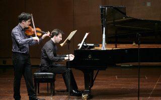 Ο βιολιστής Νώε Ινούι και ο πιανίστας Βασίλης Βαρβαρέσος ερμηνεύουν Σονάτες του Μότσαρτ (φωτ.: Χ. Ακριβιάδης)