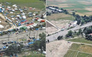 Αεροφωτογραφίες του καταυλισμού της Ειδομένης πριν από την εκκένωση και μετά, όπως τις έδωσε στη δημοσιότητα η ΕΛ.ΑΣ.