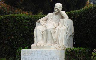Το άγαλμα του Κωστή Παλαμά στο Πνευματικό Κέντρο του Δήμου Αθηναίων.