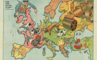 Σατιρικός χάρτης της Ευρώπης (1914), βρετανικής έκδοσης, που συμβολίζει τη ρευστότητα των συνόρων (και στα Βαλκάνια), καθώς και τις αντικρουόμενες επιδιώξεις. Οι στερεότυπες αντιλήψεις γίνονται πηγή σάτιρας. Συλλογή Παναγιώτη Σουκάκου.