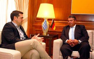 Οι κ. Τσίπρας και Γκάμπριελ, κατά τη συνάντησή τους χθες στο Μέγαρο Μαξίμου, συζήτησαν, μεταξύ άλλων, για τη συνεργασία στους τομείς της ενέργειας.