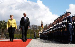 Η Αγκελα Μέρκελ τον Απρίλιο υποδέχθηκε τον Μπαράκ Ομπάμα στο Βερολίνο, μετά το ταξίδι του προέδρου στο Λονδίνο.