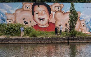 Γκράφιτι του μικρού Αϊλάν στη Φρανκφούρτη.