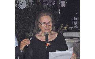 Η αντιπρόεδρος του Μουσείου Γουλανδρή μίλησε για τον σκοπό του Μουσείου, με ιδρυτές τον Αγγελο και τη Νίκη Γουλανδρή, το 1964, και το πολυσήμαντο έργο τους (φωτο Ελένη Μπίστικα, 29/6/2016).