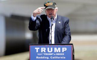 Ο Ντόναλντ Τραμπ σε πρόσφατη προεκλογική του συγκέντρωση, στο Ρέντινγκ της Καλιφόρνιας.