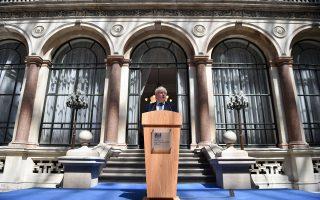 Ο Μπόρις Τζόνσον εκφωνεί ομιλία στο προσωπικό του υπουργείου Εξωτερικών, που μόλις ανέλαβε.