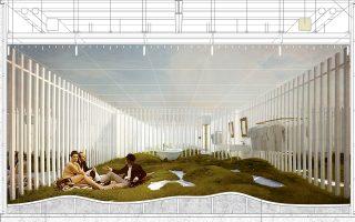 Οψη από την πρόταση του αρχιτέκτονα Λεωνίδα Παπαλαμπρόπουλου, που απέσπασε το πρώτο βραβείο στον Πανευρωπαϊκό Διαγωνισμό Σχεδιασμού Room 18 με θέμα ένα δωμάτιο ξενοδοχείου.