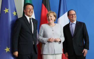 Η Γερμανίδα καγκελάριος Αγκελα Μέρκελ απέρριψε προ ημερών πρόταση του Ιταλού πρωθυπουργού Ματέο Ρέντσι για κρατική στήριξη των προβληματικών τραπεζών με προσωρινή ανάκληση των κανόνων για τον καταμερισμό απωλειών σε επενδυτές και ανασφάλιστες καταθέσεις.